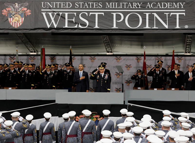 ". President Barack Obama and Lt. Gen. Robert Caslen Jr., superintendent at the U.S. Military Academy, stand for the national anthem during a graduation and commissioning ceremony at the academy, Wednesday, May 28, 2014, in West Point, N.Y. In a broad defense of his foreign policy, the president declared  that the U.S. remains the world\'s most indispensable nation, even after a ""long season of war,\"" but argued for restraint before embarking on more military adventures. (AP Photo/Mike Groll)"
