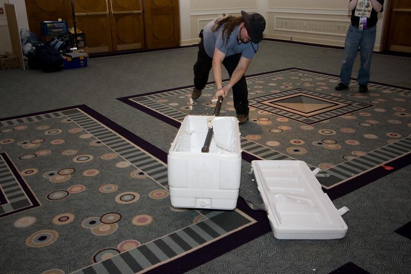 Jim destroying the cooler.