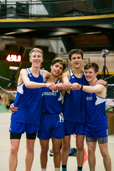 (from left) Gabe Praamsma (junior), Julio Quiles (senior), Ben Huston (junior) and Xander DeBlois (junior) after the 4x400 relay. VUHS won the event with a time of 3:45.11. Vermont Division II Indoor Track State Championships - UVM Gutterson Field House - 2/16/2020