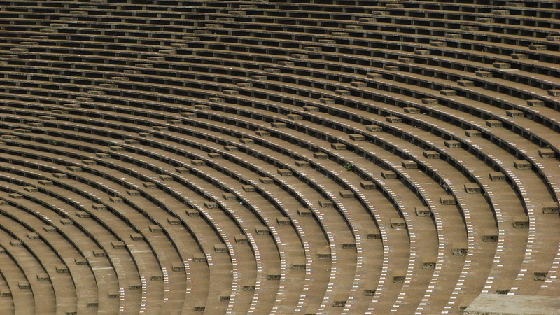 Seats at Phnom Penh's Olympic Stadium.