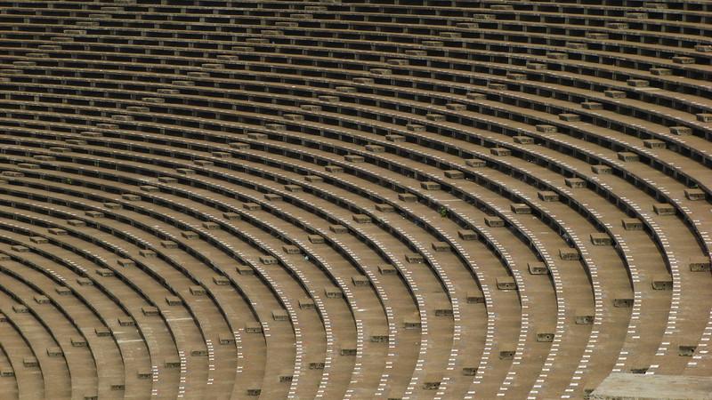 Seats at Phnom Penh's Olympic Stadium.