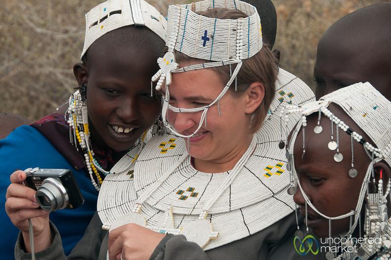 Audrey Shares Photos with Masai Women - Lake Manyara, Tanzania