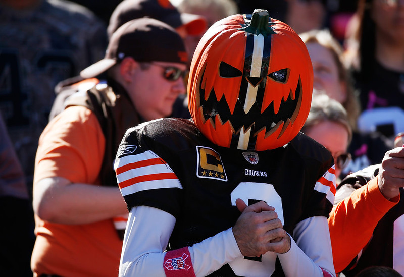 . A Cleveland Browns looks on during the game against the Pittsburgh Steelers at FirstEnergy Stadium on October 12, 2014 in Cleveland, Ohio.  (Photo by Gregory Shamus/Getty Images)