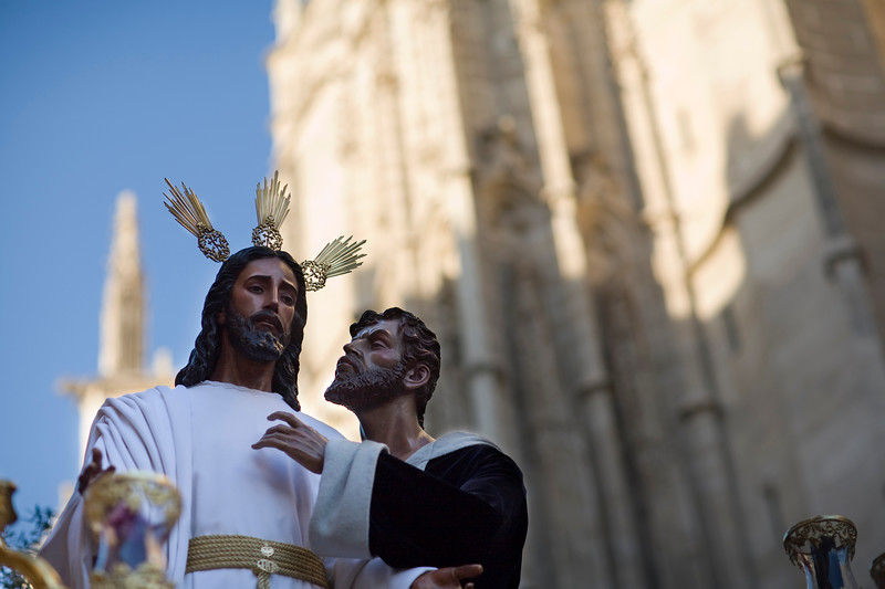 Judas Iscariot kissing Jesus Christ, Holy Week float, Seville, Spain