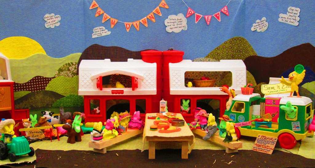 """. \""""A Peeps Farm Dinner,\"""" by April Bogard, Kim Carlton, Angie Cyr, Nicole Koktavy, Sarah Leach, Michelle Messer and Colleen Paulus"""