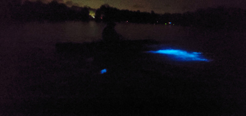 Blue glow under kayak in water