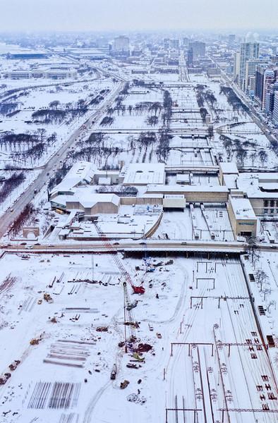 Millenium Park under construction in winter