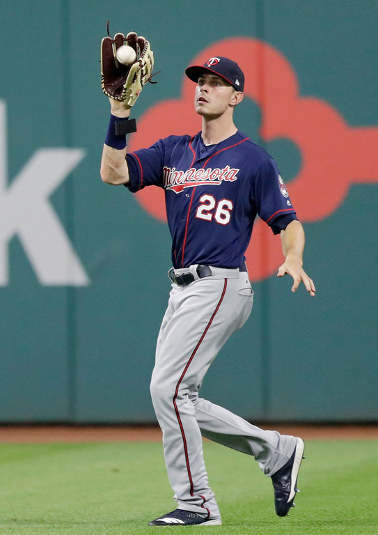 . Minnesota Twins\' Max Kepler catches a ball hit by Cleveland Indians\' Michael Brantley during the eighth inning of a baseball game Friday, June 15, 2018, in Cleveland. Brantley was out on the play. (AP Photo/Tony Dejak)