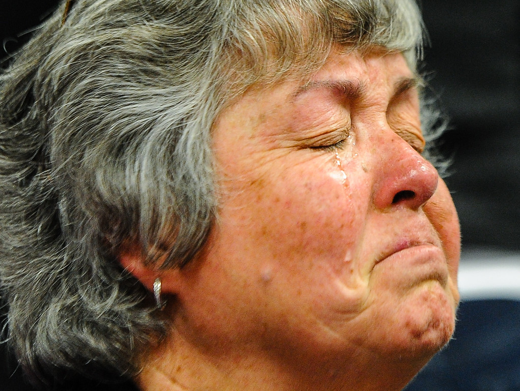 . Lynda McGlaughlin, mother of convicted killer Collin Lee McGlaughlin, cries in court after her son was sentenced to life in prison without the possibility of parole at Victorville Superior Court on Friday, Jan. 17, 2014. Collin Lee McGlaughlin, who pleaded guilty on Dec. 2 to the Jan. 5, 2008 shooting deaths of 18-year-old Christopher Cody Thompson, of Apple Valley and 16-year-old Bodhisattva Sherzer Potter (cq), of Victorville, killed the teens inside an abandoned Army bunker outside of Barstow. (Photo by Rachel Luna / San Bernardino Sun)