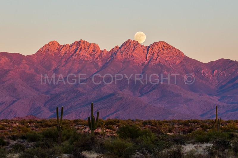Full Moon Rising over Four Peaks Mountain