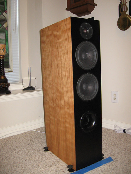 The Selah Audio Texas Revelator Tower, a 2.5 way speaker using Scan Speak Revelator drivers, with Clarity SA caps in the signal path of the Air Circ tweeter.