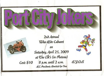 Port City Jokers 2nd Annual Who Ride Cabaret