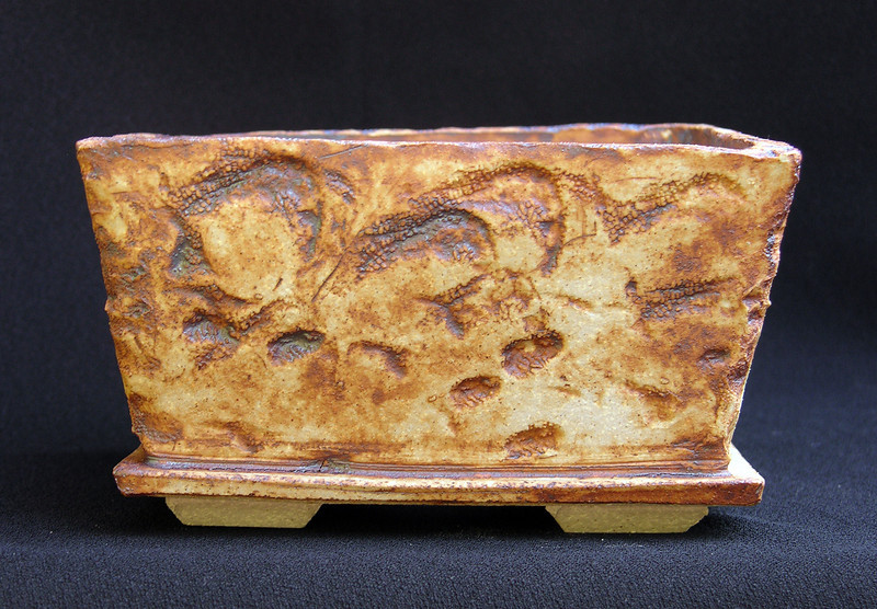 Fossilized coral impressed stoneware 5 1/2 square by 3inches sold