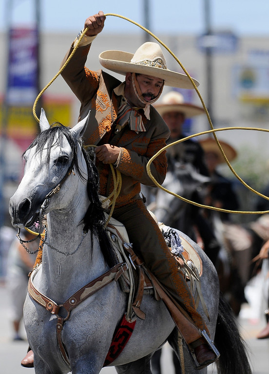 . A traditional Mexican horseman does rope tricks while riding in the parade. The Annual Canoga Park Memorial Day Parade marched down Sherman Way from Owensmouth east to Mason Street where it concluded at the First Baptist Church. Canoga park, CA 5/27/2013(John McCoy/LA Daily News)