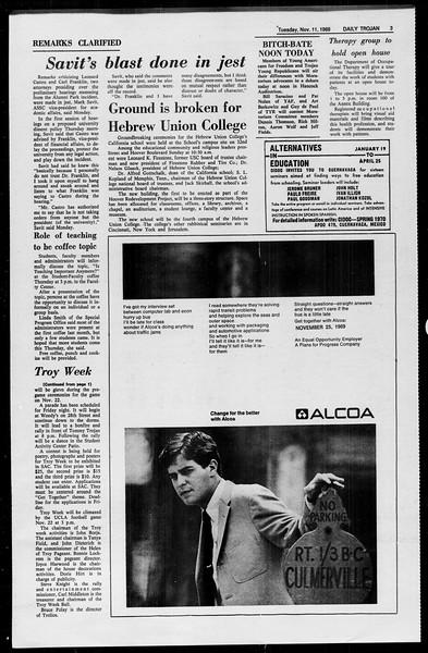 Daily Trojan, Vol. 61, No. 41, November 11, 1969