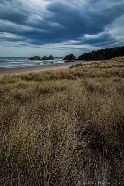 A dark & moody day at Cannon Beach.