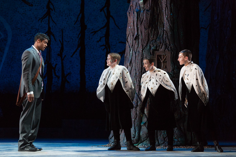 """Sean Panikkar as Tamino and (from left) Samuel Soloman, Joelle Lachance and Andrew Pulver as Spirits in The Glimmerglass Festival's 2015 production of Mozart's """"The Magic Flute."""" Photo: Karli Cadel/The Glimmerglass Festival"""