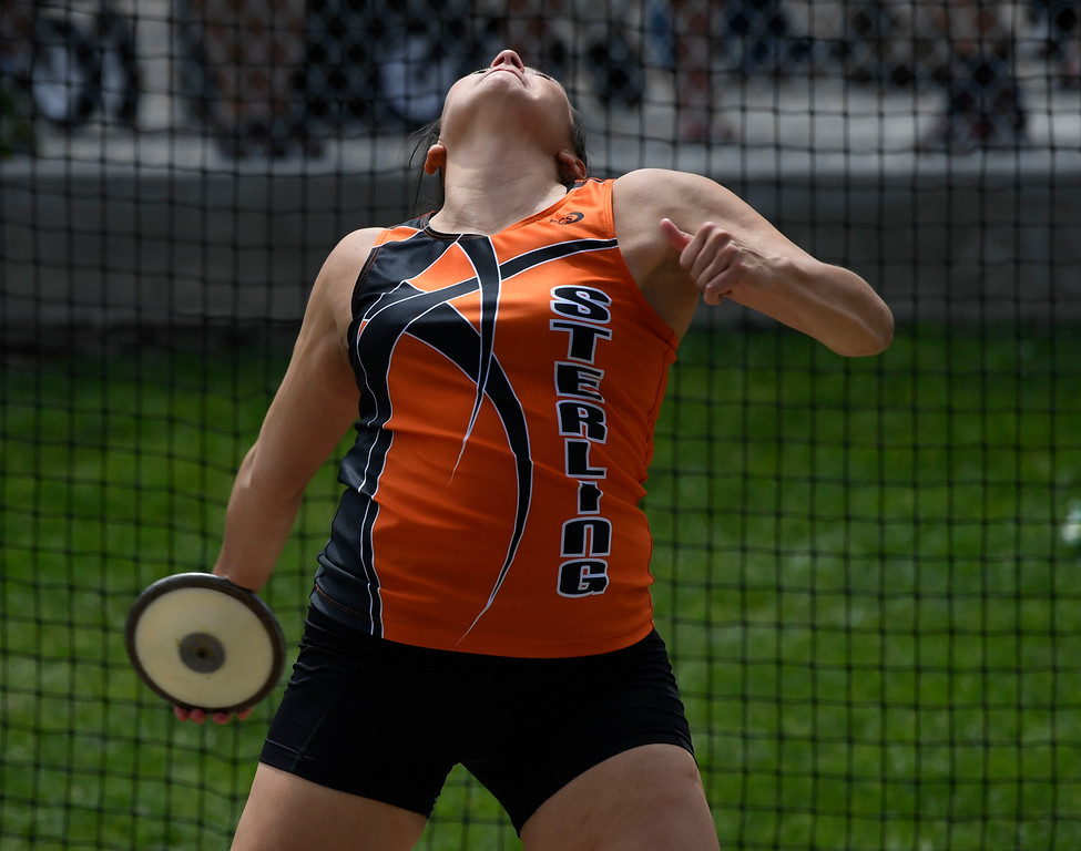 """. LAKEWOOD, CO - May 20: Josie Blagg, Sterling High School, makes a throw during the girls 3A discus throw event at the Colorado State High School Track and Field Championships at Jeffco Stadium May 20, 2016. Bragg finished third with a throw of 120\' 5\"""" (Photo by Andy Cross/The Denver Post)"""