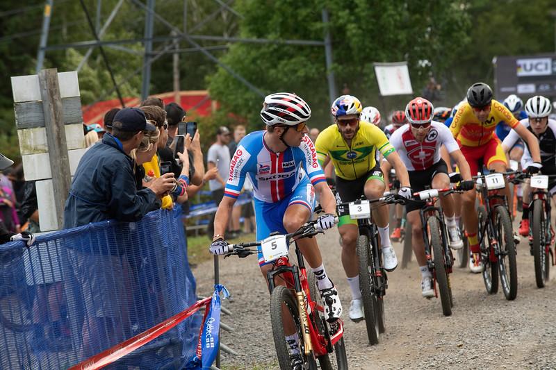 Ondrej Cink (Czech Republic) and the rest of the peloton.
