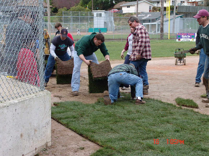 Coaches and parents get the grass laid.