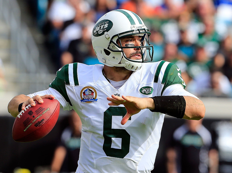 . JACKSONVILLE, FL - DECEMBER 09:  Mark Sanchez #6 of the New York Jets attempts a pass during the game against the Jacksonville Jaguars at EverBank Field on December 9, 2012 in Jacksonville, Florida.  (Photo by Sam Greenwood/Getty Images)