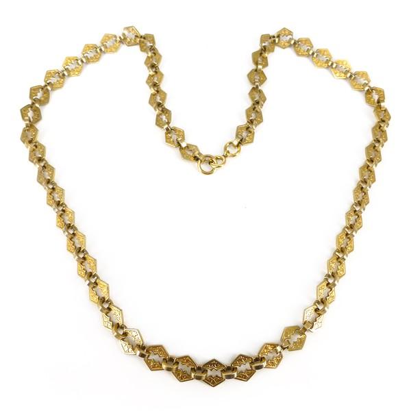 Antique Victorian Gold Engraved Tile Link Chain Necklace