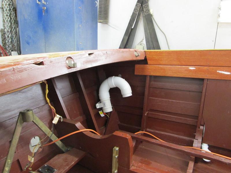 Custom bilge blower mount and pluming.