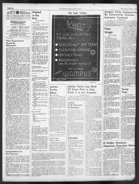Daily Trojan, Vol. 29, No. 124, April 27, 1938