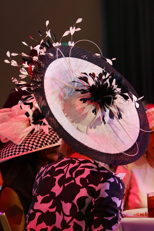 . Denise Snyder\'s headwear.  Women with Hattitude luncheon, benefiting the Women\'s Voices Fund, created by the Denver Center Theatre Company, at the Denver Center for Performing Arts, Seawell Ballroom, in Denver, Colorado, on Thursday, May 5, 2016. Photo Steve Peterson