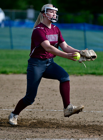 5/15/2019 Mike Orazzi | Staff Farmington's Anna Mihalek (25) during softball with St. Paul in Bristol Wednesday.