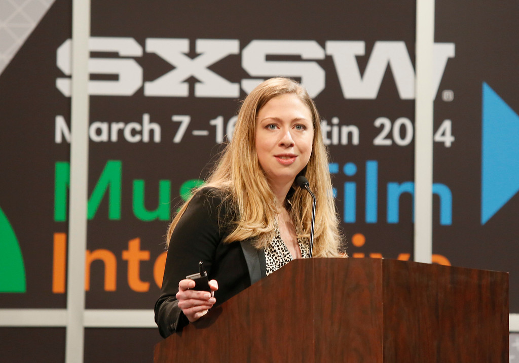 . Chelsea Clinton gives the keynote during the SXSW Interactive for Harnessing the Power of Tech and Data for Development on Tuesday, March 11, 2014, in Austin, Texas. (Photo by Jack Plunkett/Invision/AP)