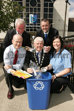 Buttercrane joins Blue Bun Scheme. Manager of Buttercrane Newry Peter Murray is pictured with Mayor Cole, Tara Cunningham, Patrick McShane and Roland Moore. 07W31N26
