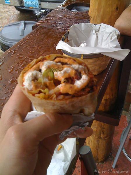 Smoked marlin burrito at Burrito Revolution in Sayulita, Mexico.