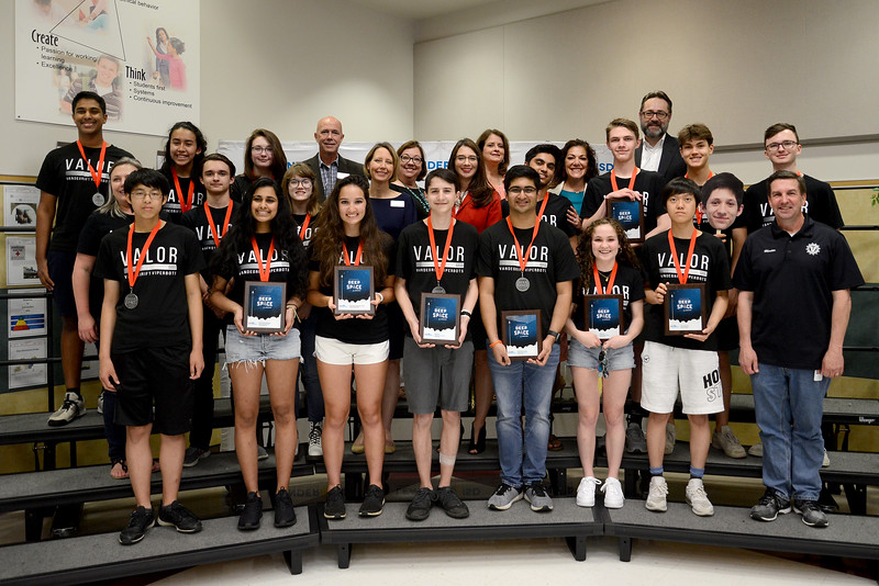 Vandegrift High School's ViperBots Valor robotics team, recognized for advancing to the FIRST Robotics World competition in the FRC division.