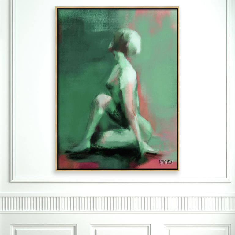 Seated Woman - Jade, Coral & Emerald Green Wall Art Painting Large Canvas Print in a Gold Frame by Beverly Brown - www.beverlybrown.com