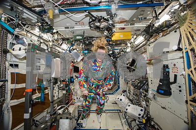NASA astronaut wears spacesuit painted by kids with cancer