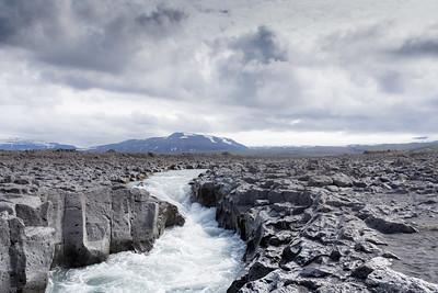Waterway in Lava Field on Iceland