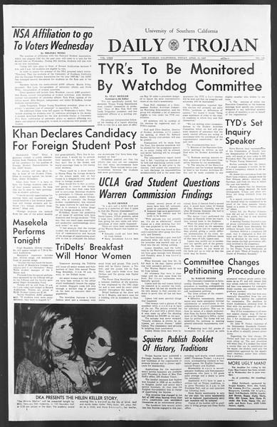 Daily Trojan, Vol. 58, No. 109, April 21, 1967
