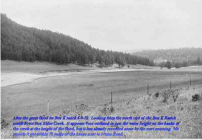 After the great flood on Box K ranch 6/9/72.  Looking from the north end of the Box K Ranch south down Box Elder Creek.  It appears Vern Kraemer outlined in pen the water height on the banks of the creek at the height of the flood, but it had already receded some by the next morning.  He reports it got within 75 yards of the house next to Nemo Road.