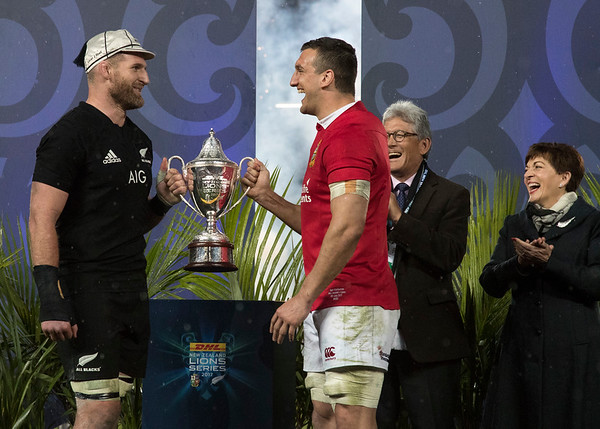 Kieran Read (c) and Sam Warburton (c)  during game 10 of the British and Irish Lions 2017 Tour of New Zealand, the third Test match between  The All Blacks and British and Irish Lions, Eden Park, Auckland, Saturday 8th July 2017 (Photo by Kevin Booth Steve Haag Sports)  Images for social media must have consent from Steve Haag