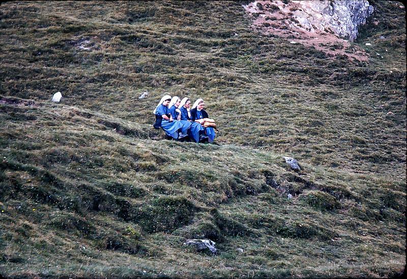 Sisters enjoyhing Bel Alp mountain scenery, Switzerland, 1977