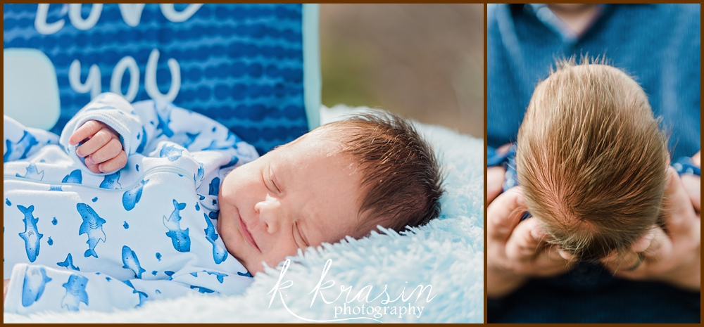 Collage of photos of newborn boy and looking straight on at top of newborn baby head