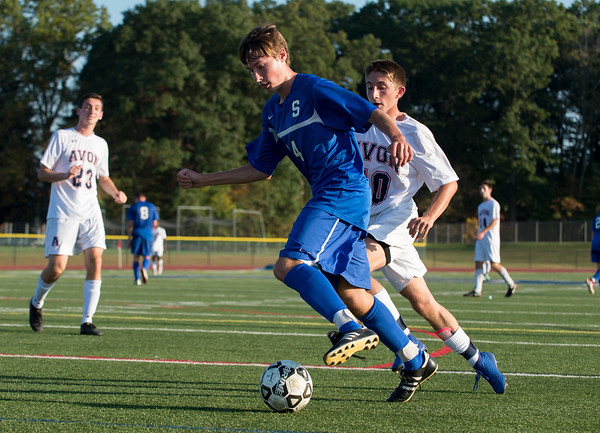 10/01/19 Wesley Bunnell | StaffrrSouthington boys soccer was defeated by Avon 3-2 on Tuesday afternoon at Southington High School. Shane Sullivan (24).