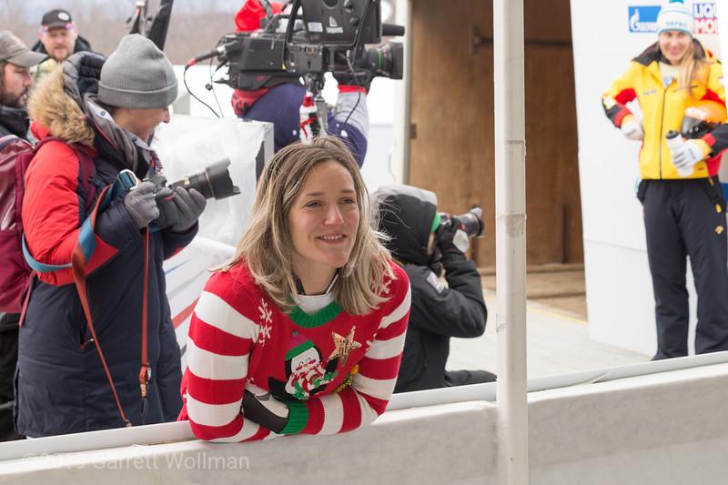 Mimi Rahneva in a Christmas sweater