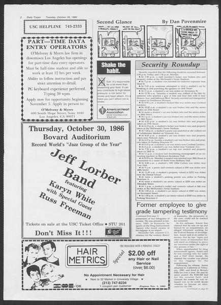 Daily Trojan, Vol. 102, No. 40, October 28, 1986