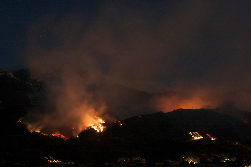 View from near San Marcos Pass, approx. 9 hours after the fire started.  Panoramic image stitched from 4 individual photos.