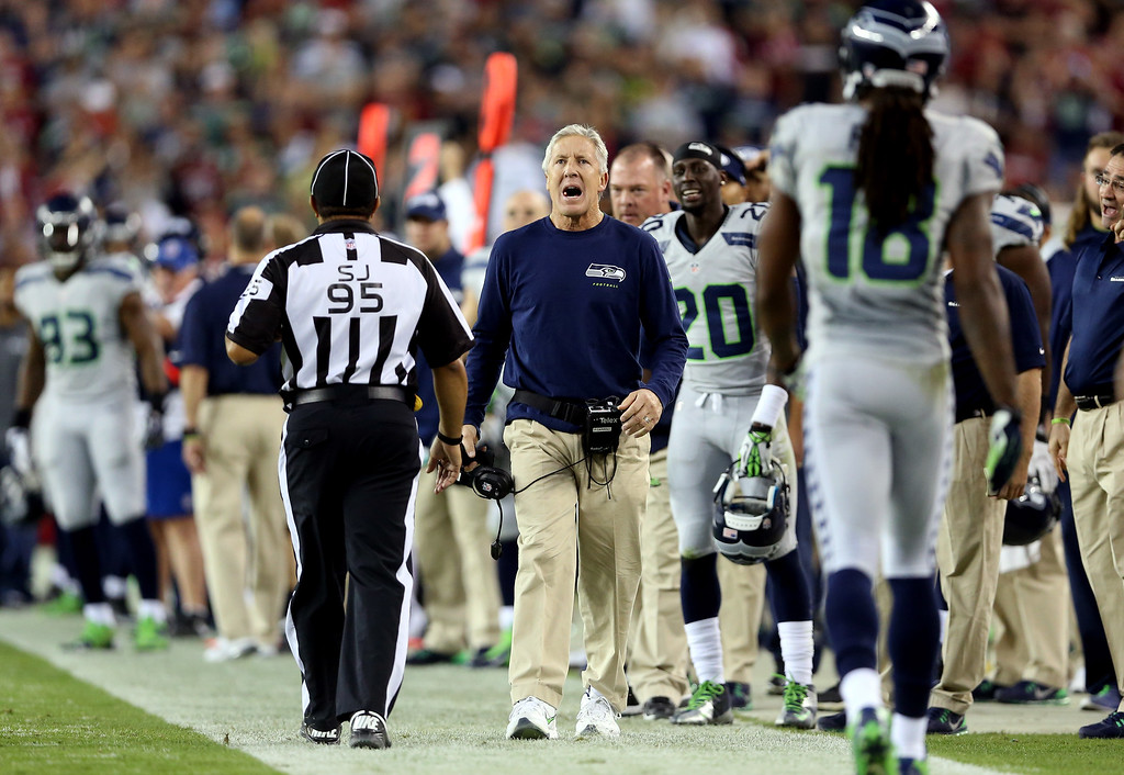 . GLENDALE, AZ - OCTOBER 17:  Head coach Pete Carroll of the Seattle Seahawks reacts during a game against the Arizona Cardinals at the University of Phoenix Stadium on October 17, 2013 in Glendale, Arizona.  (Photo by Christian Petersen/Getty Images)