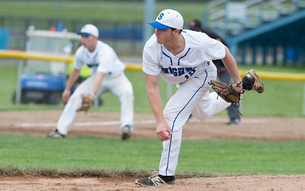 05/29/19 Wesley Bunnell | Staff Southington defeated New Britain 4-3 in 11 innings on a walk off single by Billy Carr (17) in the continuation of a game suspended in the 10th inning due to rain on May 29th. Pitcher Brendan Kavanaugh (12).