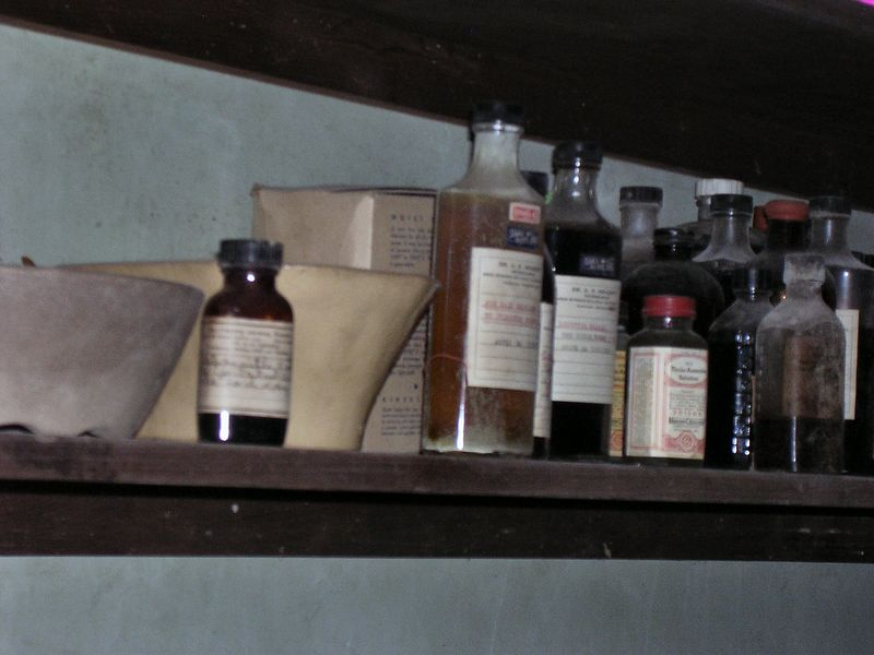 All that is left on the capacious shelves in the large pantry closet are veterinary medicines.