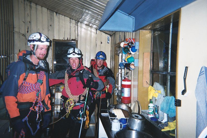 Phil (left), Carl and James at 11:59 pm. This is just before our departure to Mt Cook via the Linda Glacier. 29 Mar 04